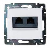 Розетка двойная компьютерная с захват. RJ45х2 Legrand Valena (Белая) 774231