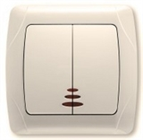 Выключатель 2-х клавишный с подсветкой (крем.) Viko Carmen